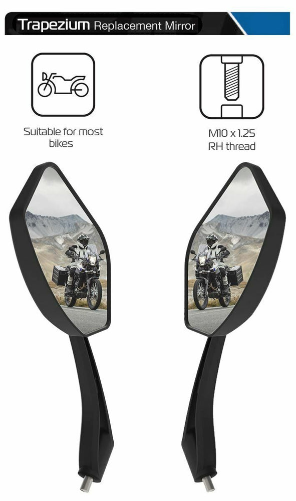 Universal Oxford Trapezium Motorcycle Rearview Mirror Glass Pair 10mm OX152 & OX153