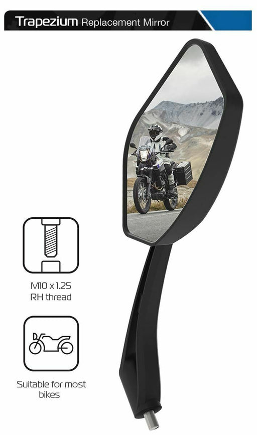 Universal Oxford Trapezium Motorcycle Rearview Mirror Glass Right Side 10mm OX153