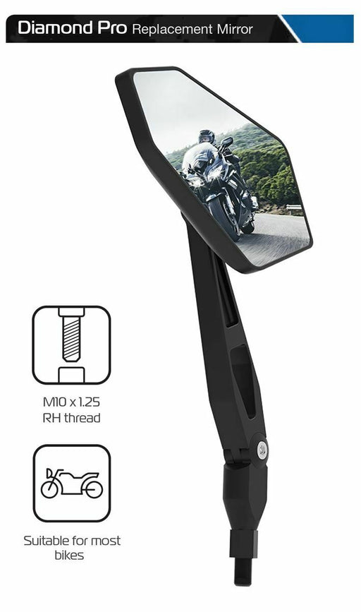 Universal Oxford Diamond Pro Motorcycle Rearview Mirror Glass Left Side 10mm OX154