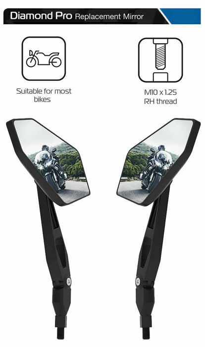 Universal Oxford Diamond Pro Motorcycle Rearview Mirror Glass Pair 10mm OX154x2