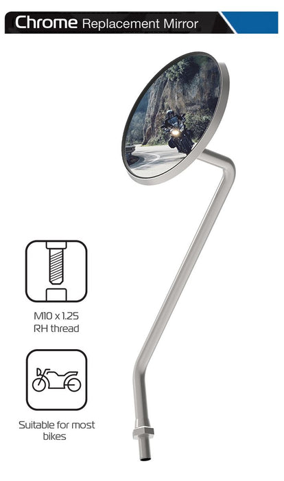 Universal Oxford Chrome Motorcycle Rearview Mirror Glass Right Side 10mm OX568