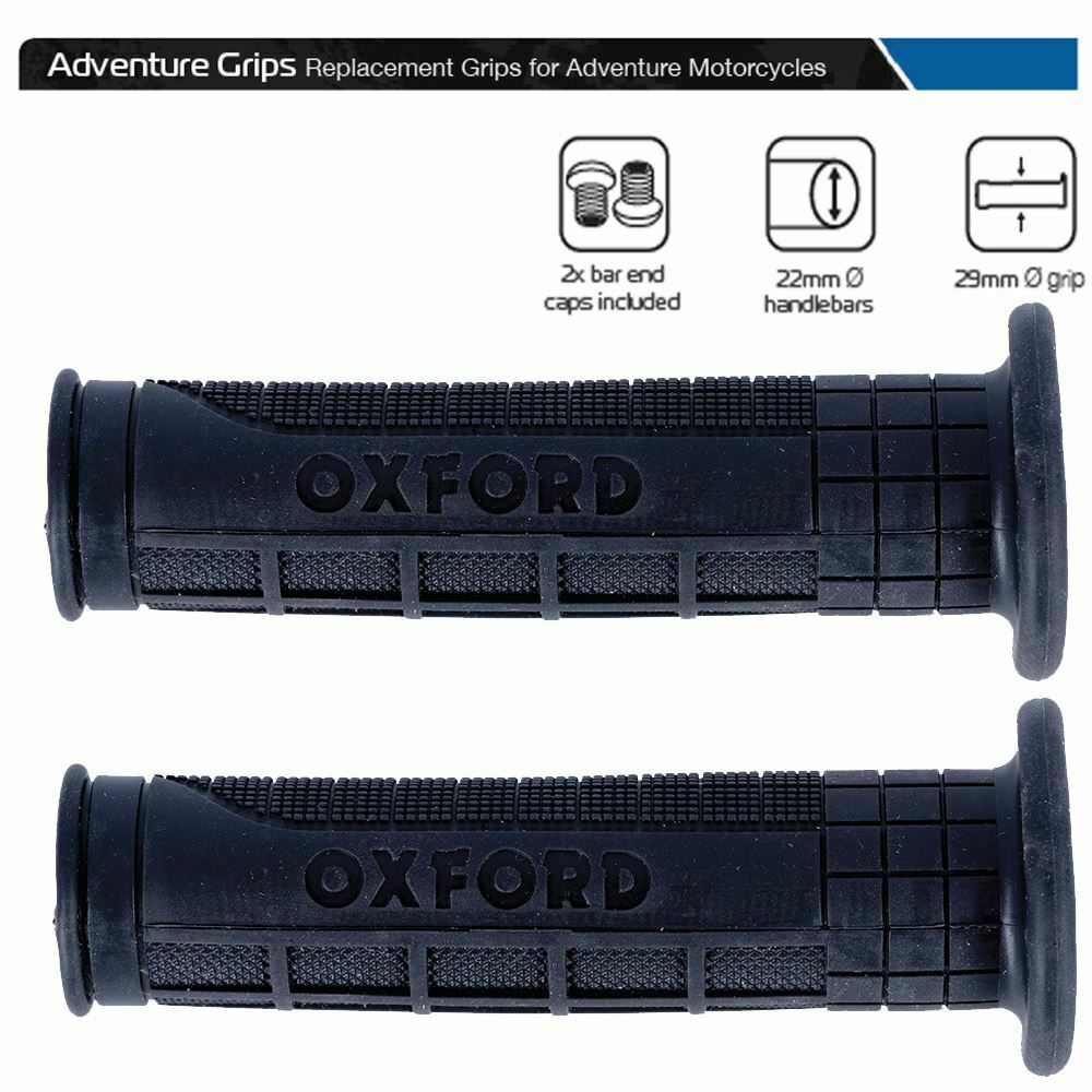 Universal Oxford Motorcycle Handlebar Adventure Grips 119mm Inc Bar End Caps OX602
