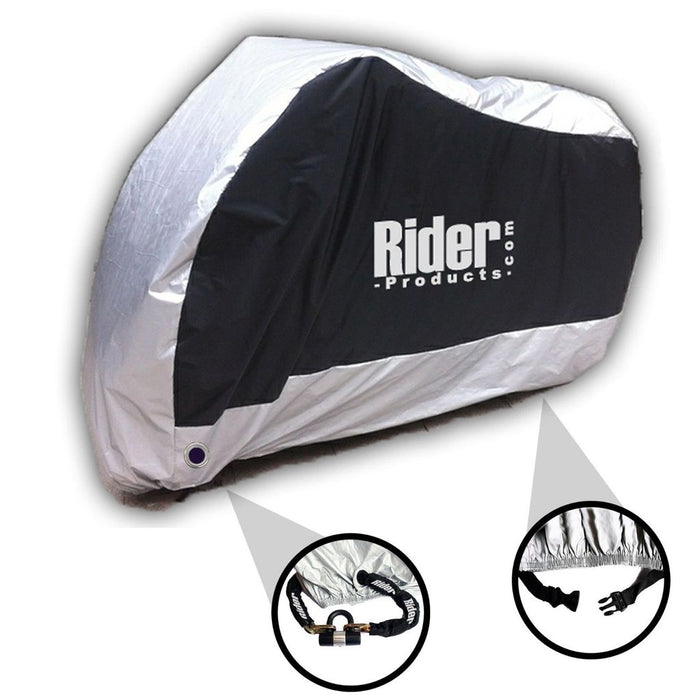 Universal Rider Products Medium Waterproof Motorcycle Cover Silver Black  RP101
