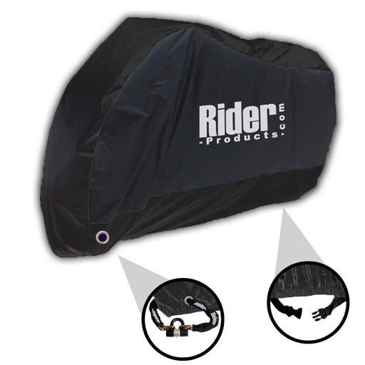 Universal Rider Products Large Waterproof Motorcycle Cover Black RP202
