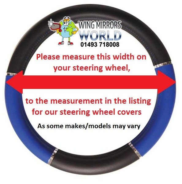 Universal Fit Black Genuine Leather Steering Wheel Cover Glove 37cm SWWG8