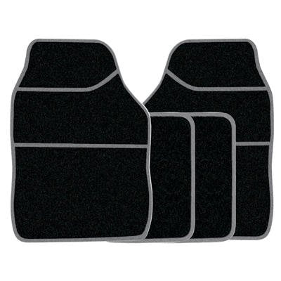 Universal Fit 4 Piece Anti Slip Black & Grey Velour Car Mat Set SWBCMS