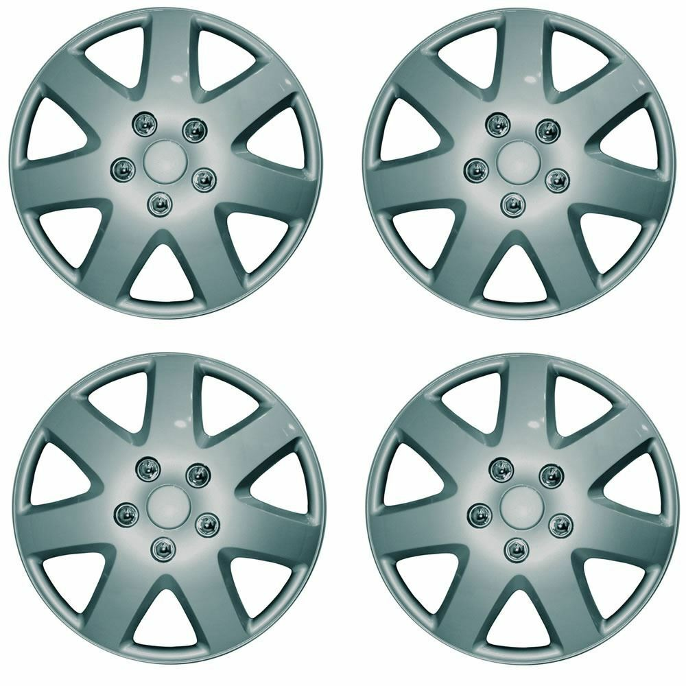 "Universal 16"" Tempest Car Wheel Trims Hub Caps Plastic Covers Silver SWUX46"