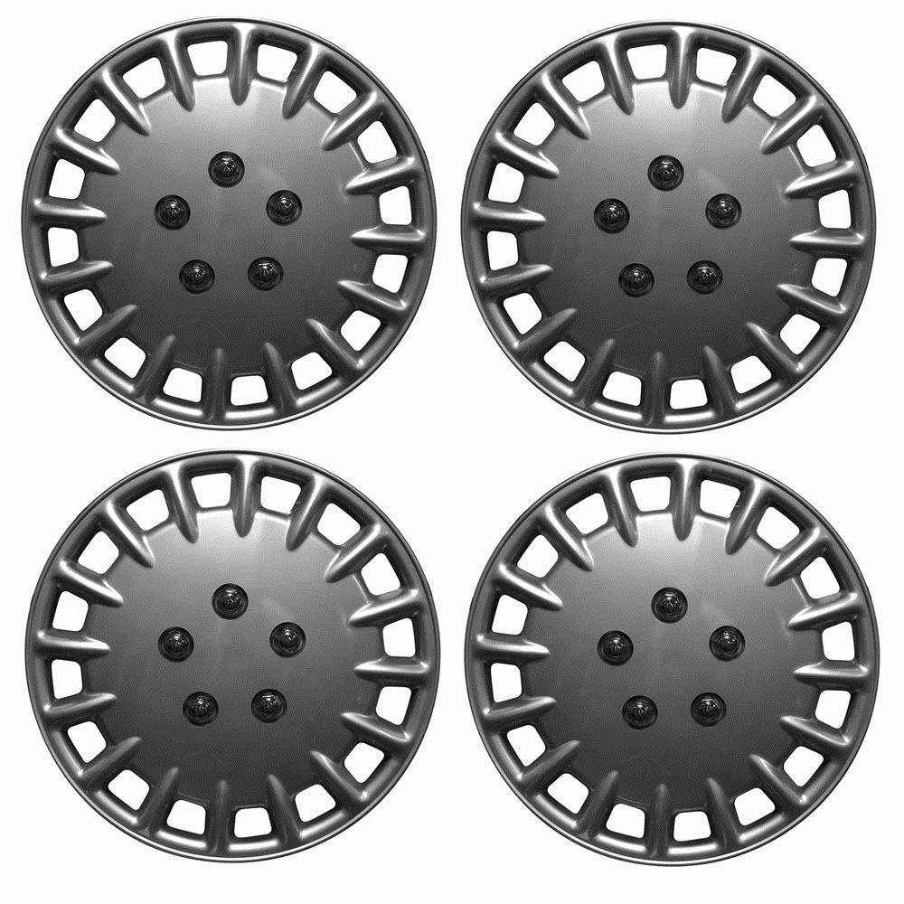 "Universal 14"" Tornado Car Wheel Trims Hub Caps Plastic Covers Silver SWUX4"