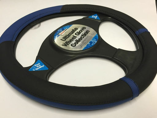 Universal Fit Black & Blue Steering Wheel Cover Glove 37cm SWWG15