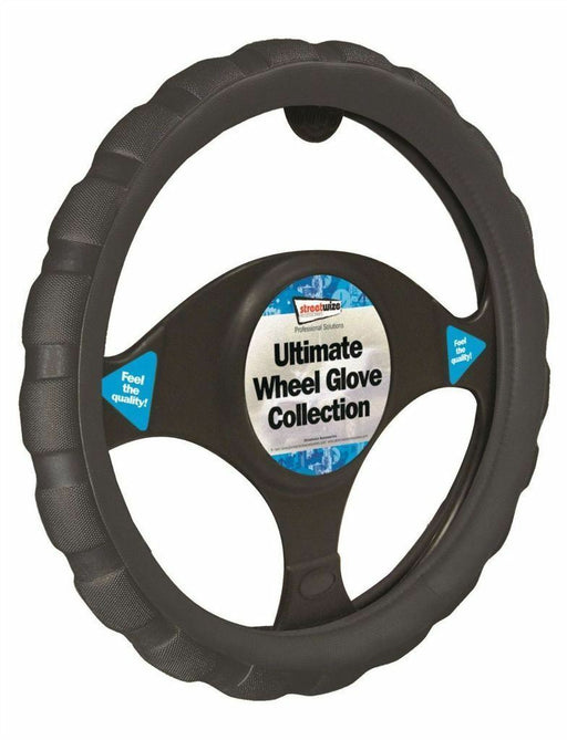 Universal Fit Black Chunky Sports Grip Steering Wheel Cover Glove 37cm SWWG4