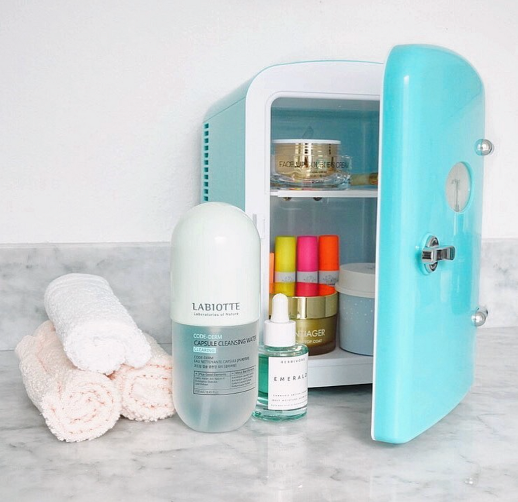 the beauty spy beauty fridge with product