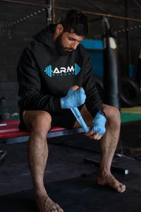 Armstrong Hoodie with Printed  Logo - Black