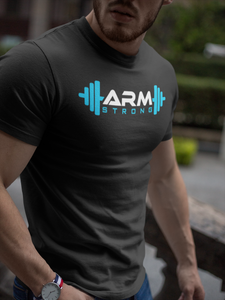 Armstrong Gym T-shirt with Large Printed Logo -  Black