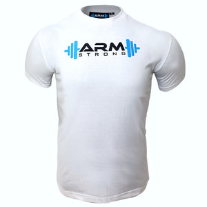 Armstrong Gym T-shirt with Large Printed Logo - White