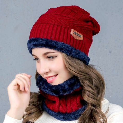 Stunning Knitwear Fur Lined Hat And Neck-warmer Sets (Free Shipping)