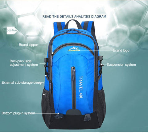 40L USB Charging Alpine Pro Waterproof Hiking Backpack