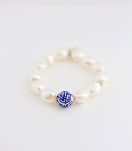 Blue and White Pearl Bracelet