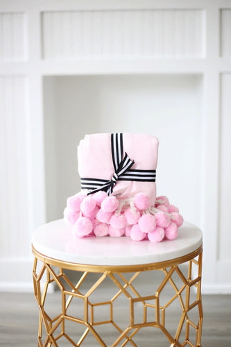 Pink Pom-Pom Throw