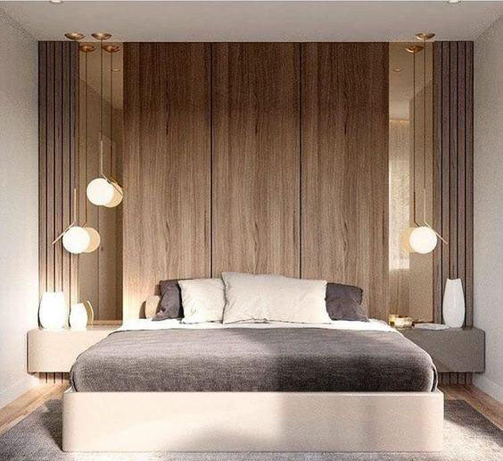 Logs are used in the bedroom background wall, which makes people feel very comfortable