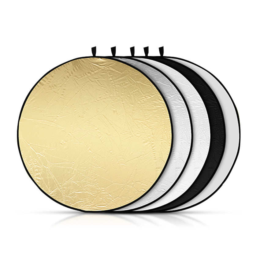 "5-In-1 Gold&Silver Black&White Round Reflector For Photography Studio Multi Photo Disc 24"" 60cm"