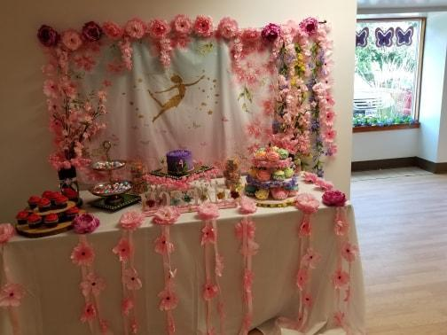 Gold Dancer Birthday Pink Flowers Baby Show Backdrop for Party Deccor