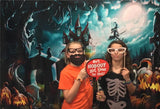 Funny Witch City of Night Halloween  Photography Backdrops