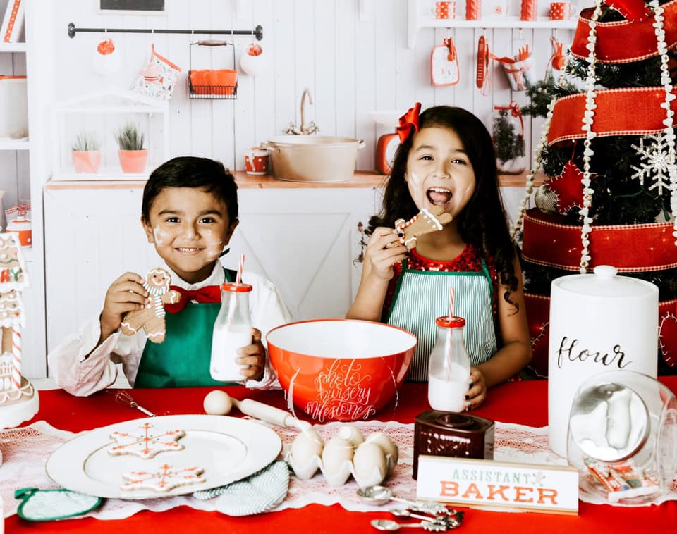 Wood Kitchen Christmas Photography Backdrop
