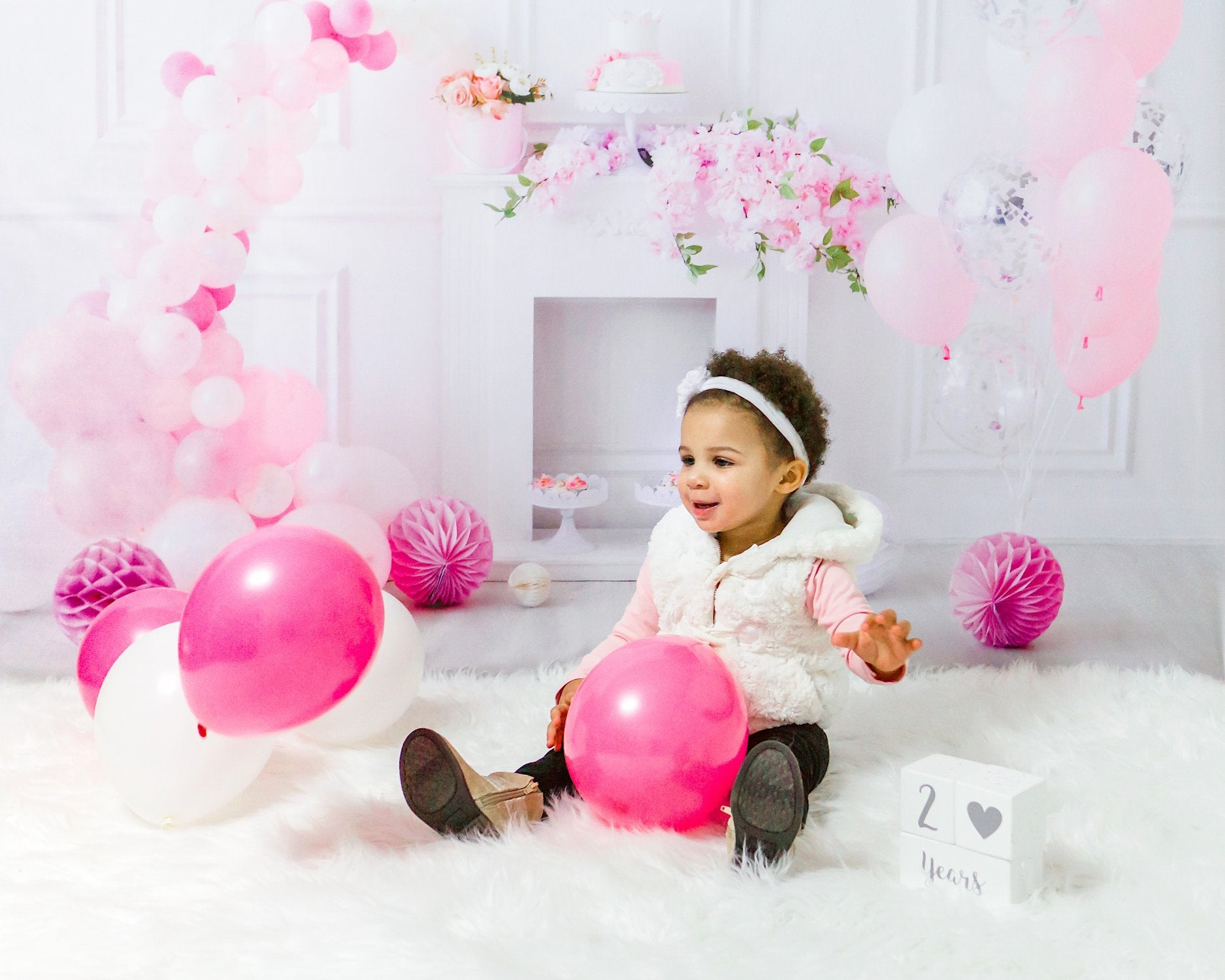 Princess White Wall Balloon Baby Show Backdrop