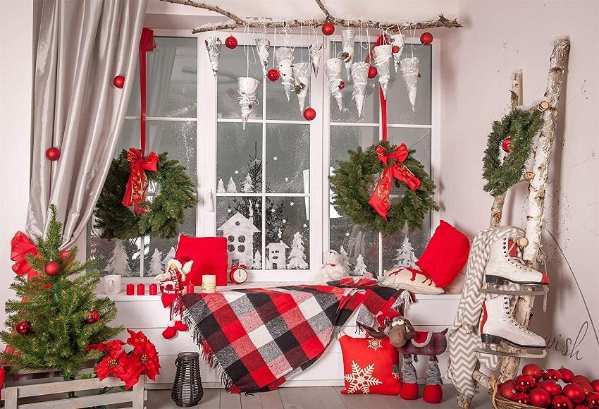 Christmas Windows Snowflake Photo Backdrop for Studio