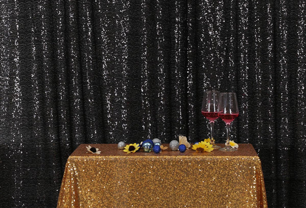 Black Sequins Fabric Photography Backdrop for Party
