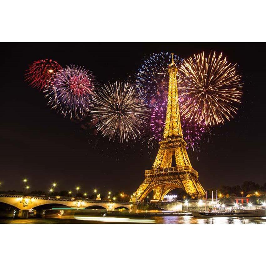 Paris City Photo Backdrop Eiffel Tower Night View Photography Background