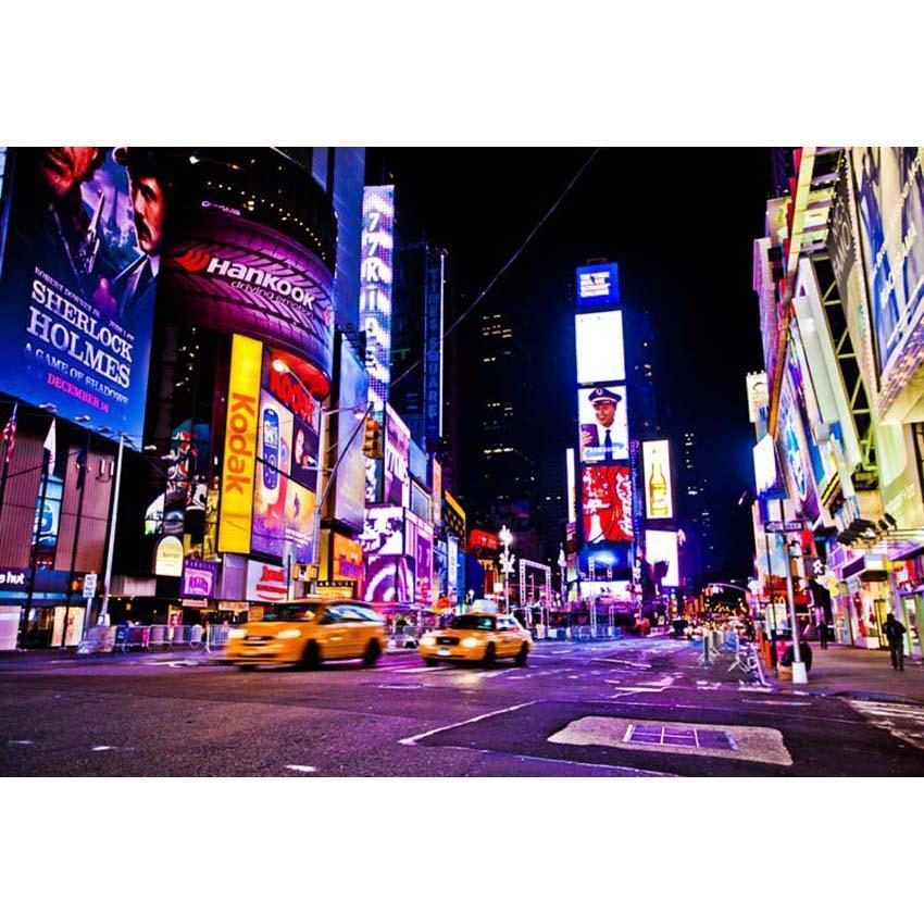 New York City Times Square Skyscraper Night Billboard Street LED Signs Photography Backdrop Urban Buildings