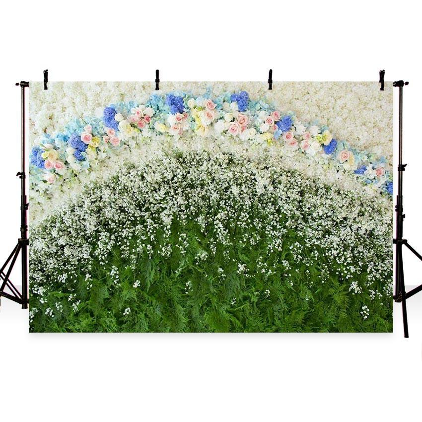 White Flowers Green Leaves Floral Bridal Backdrop for Wedding Decoration Kids Children Photography
