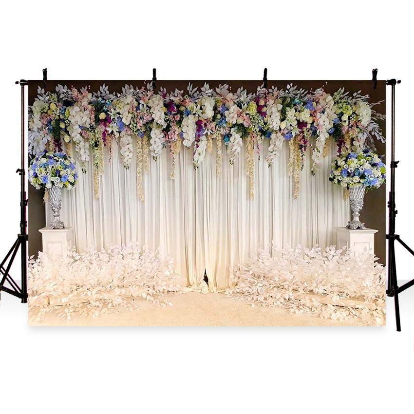 White Wedding Party Ceremony Curtain Floral Photography Backdrops