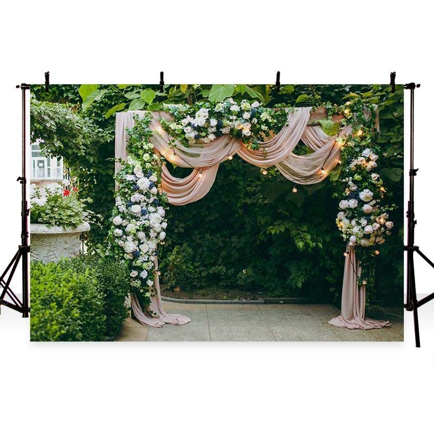 Beautiful Flowers Green Leaves Door Backdrop for Weeding Ceremony Photography