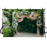 Beautiful Flowers Green Leaves Door Backdrop for Wedding Ceremony Photography