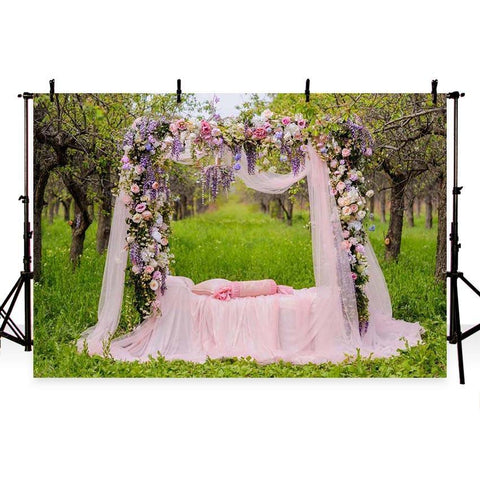 Romantic Pink Lace Curtain Colorful Flowers Backdrop for Wedding Ceremony Photography