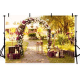 Golden Yellow Leaves Red and White Flowers Arch Backdrop for Photo Photography