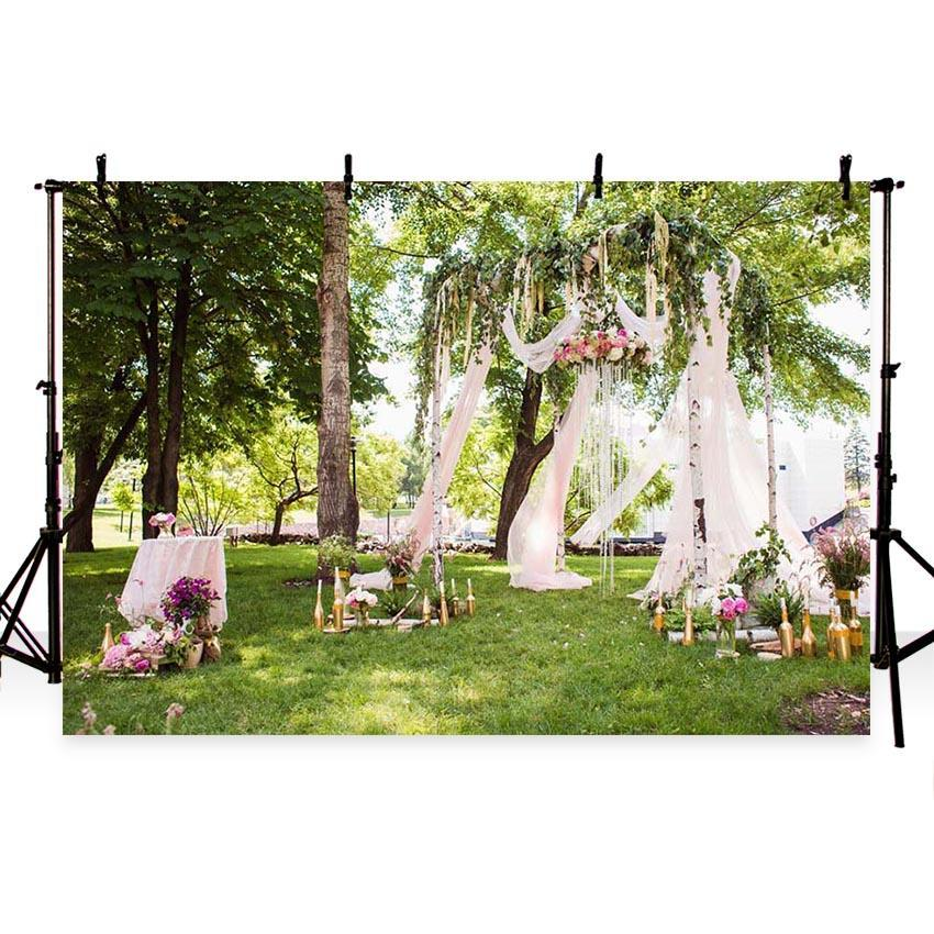 Green Grass and Leaves Flowing Lace Curtain with Flowers Backdrop for Photo Photography