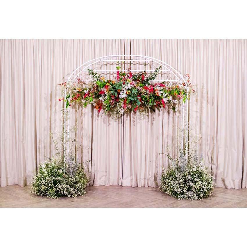 Pink Curtain Green Grass Backdrop for Ceremony Party Photography