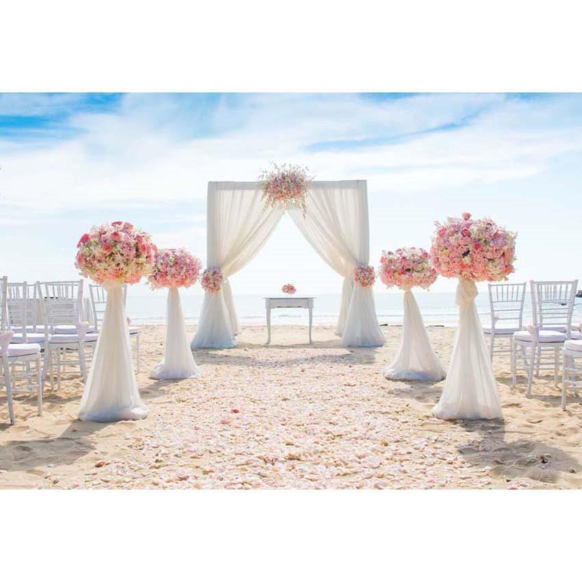 Muslin Curtain With Pink Flowers Backdrop for Wedding Ceremony Photography