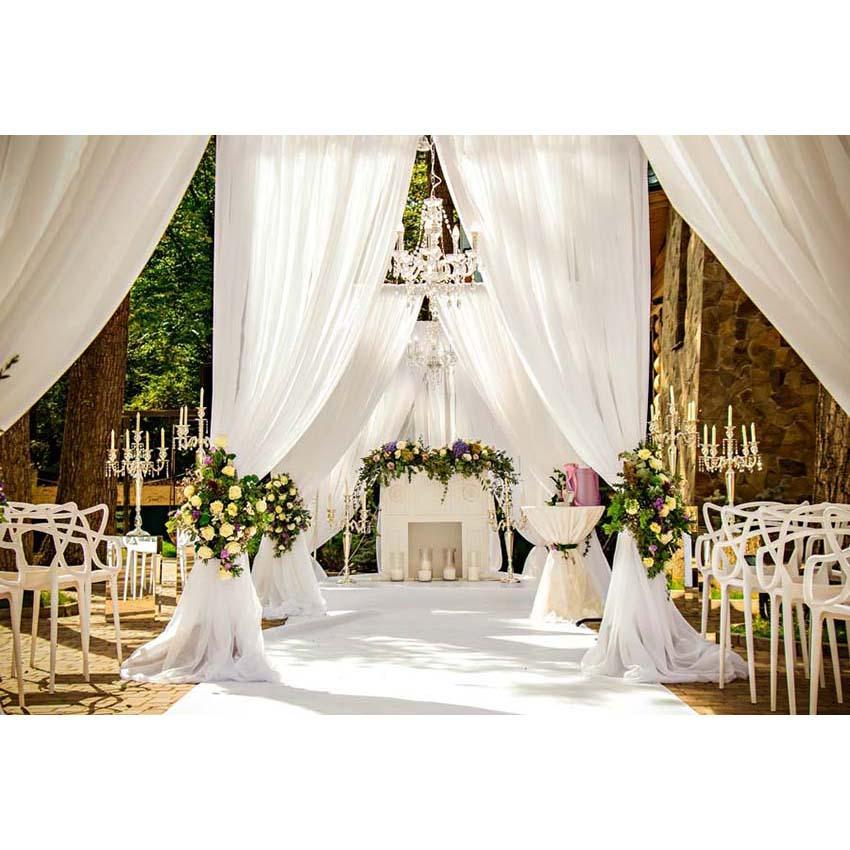 White Curtain Yellow Flowers Backdrop for Romantic Wedding Ceremony Photography