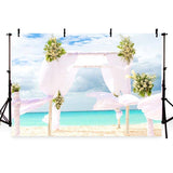 Seaside Beauty White Flowing Curtain Backdrop for Summer Sea Photography