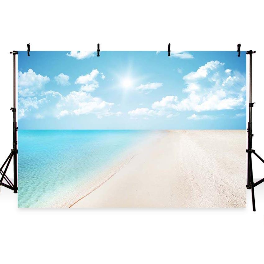 Sea and Beach Blue Sky Landscape Backdrop For Summer Sea Theme Photography