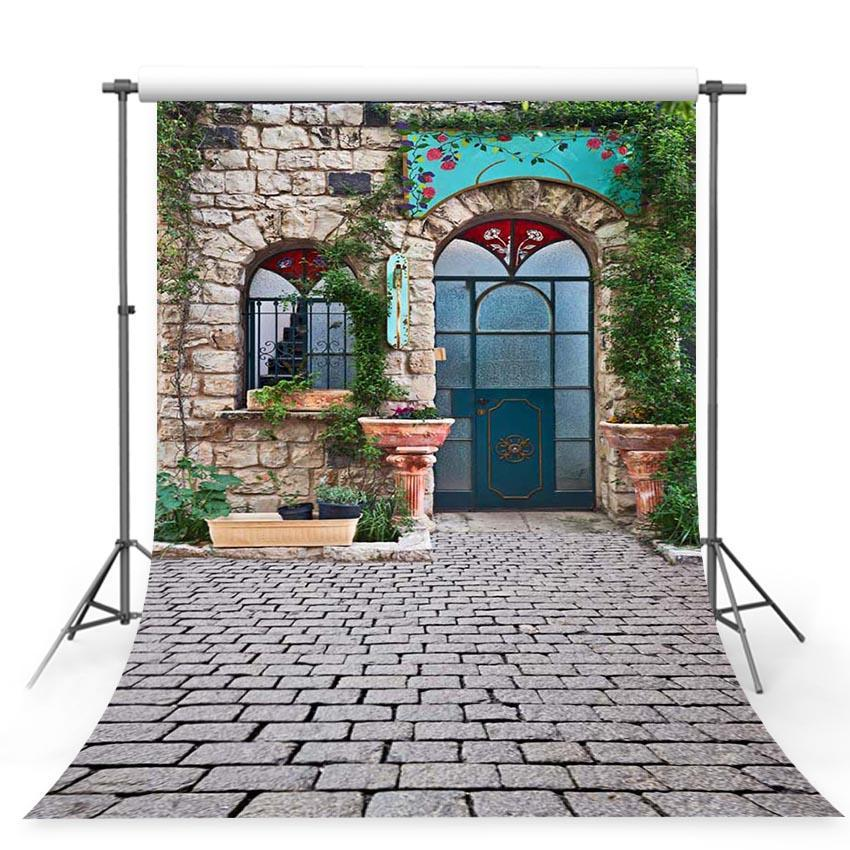 Stone House Green Leaves Arch Door Outdoor Decors Backdrop For Photography