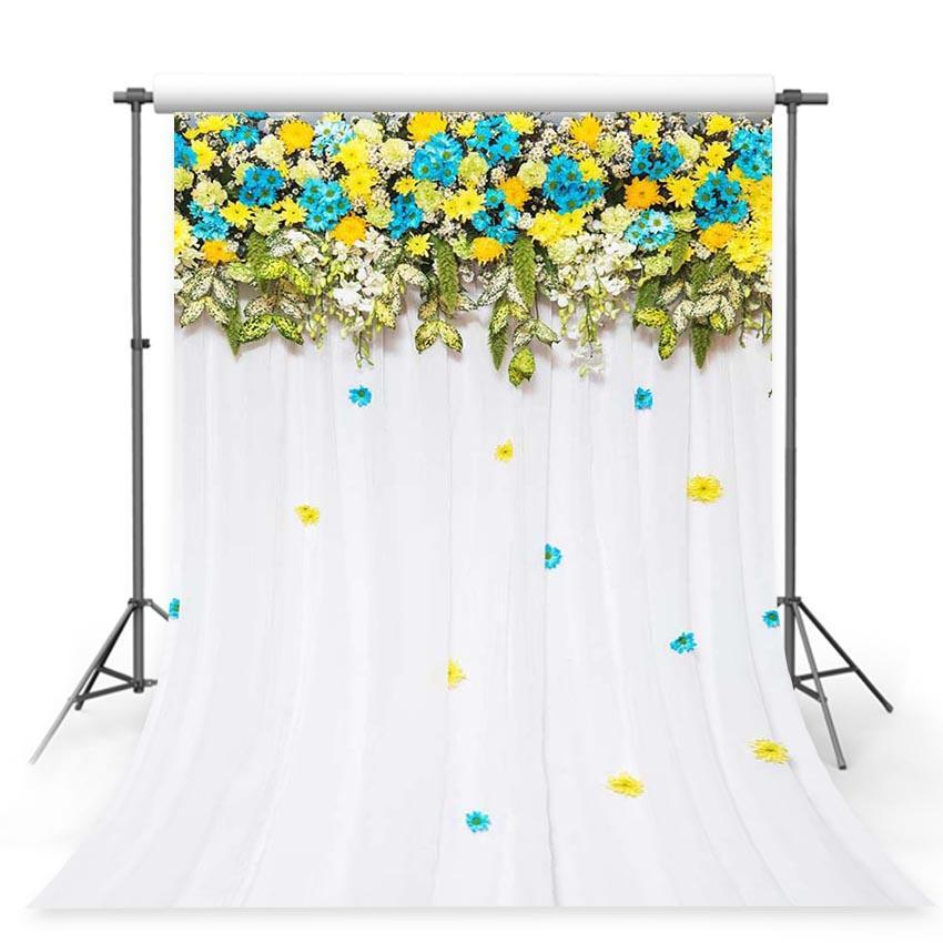 Yellow and Blue Flowers Green leaves White Curtain Backdrop for Photography Background