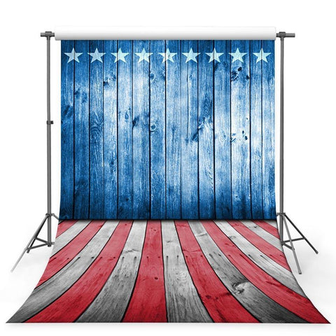 Blue Wood Backdrop America Flag Theme Photography Background