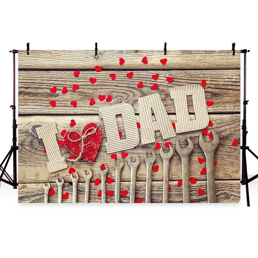 I Love Dad Backdrop for Father's Day Photography Wood Floor Background