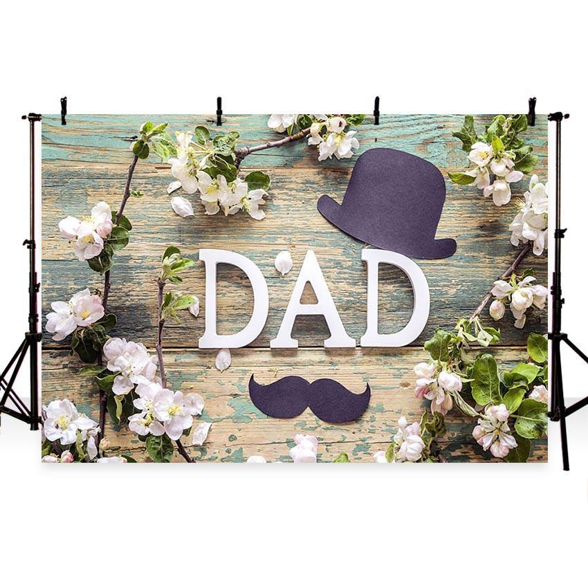 Father's Day Backdrop Wood Floor Flower Decoration Photography Background
