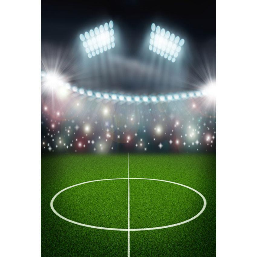 Green Grassland Bright Lights Backdrop Football Field  Sports Photography Background